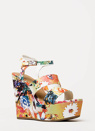 Embrace Florals Strappy Platform Wedges