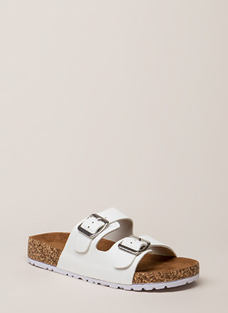 bee810c1fdf Easy Way Out Faux Leather Slide Sandals
