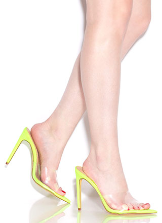 Clearly An Illusion Peep-Toe Mule Heels