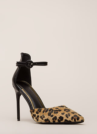 Animal Lover Pointy Faux Ponyhair Heels