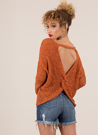 Back With A Twist Cut-Out Knit Sweater