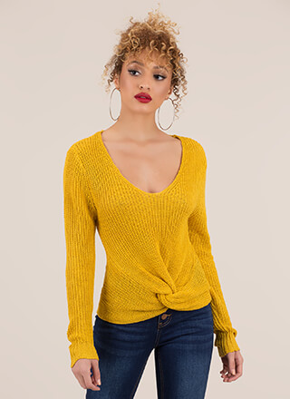 In Knots Twist-Front Knit Sweater