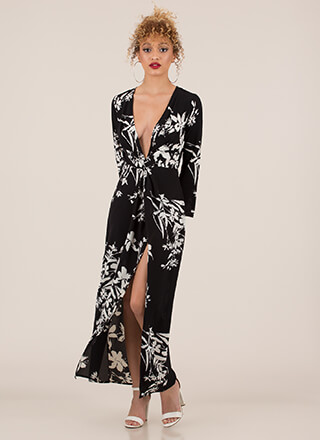 Art Walk Plunging Floral Maxi Dress
