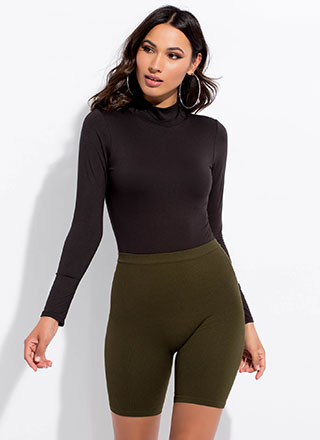 Curve This Way Rib Knit Biker Shorts