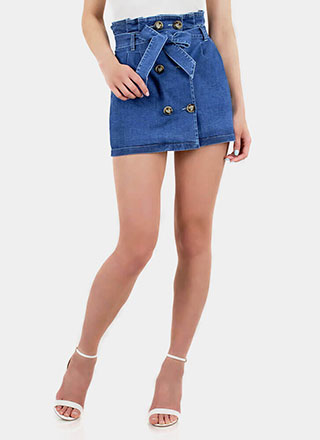 Bow-So-Cute Denim Paper-Bag Miniskirt