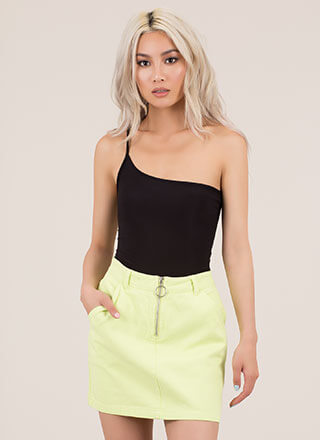What's At Play Zip-Front Denim Skirt