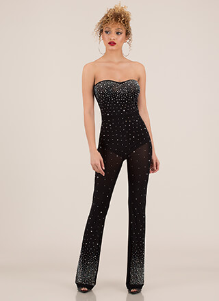 Night Sky Strapless Jewel Mesh Jumpsuit
