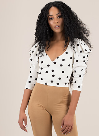 Polka Perfect Dotted Puffy Sleeve Top