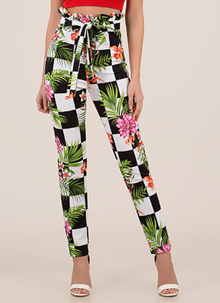 Tropical Oasis Checkered Floral Pants