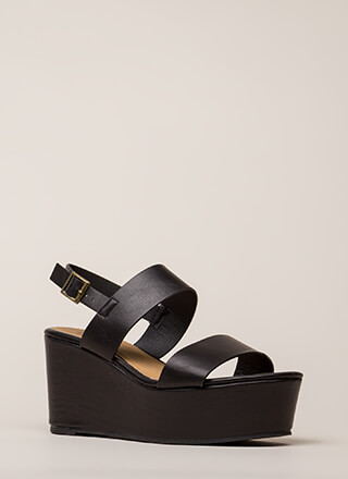 Win-Win Faux Leather Platform Wedges