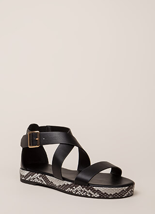 Rush To Print Strappy Platform Sandals