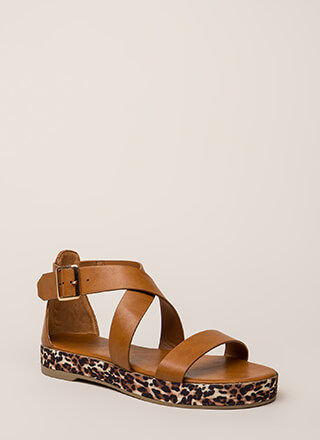 Rush To Print Strappy Platform Sandals 595955a22ed5