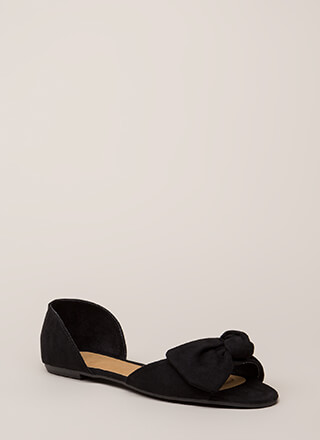 Bow All Out Faux Suede D'Orsay Flats