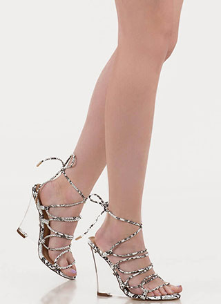 Clear My Head Lace-Up Faux Snake Wedges