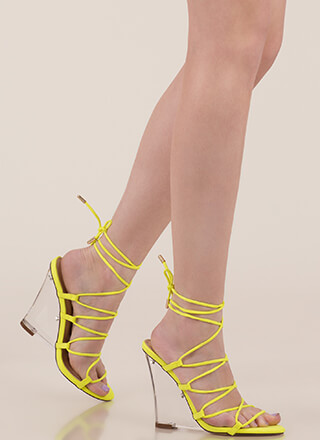 Clear My Head Lace-Up Faux Suede Wedges
