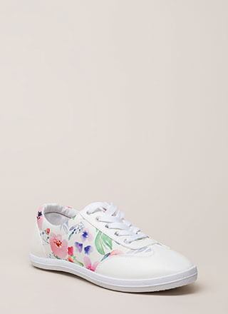 Watercolor Painting Floral Sneakers