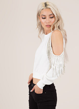 Bling It Cut-Out Jewel Fringe Sweatshirt