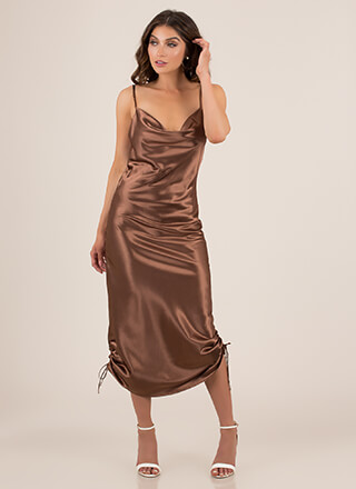 Shirr Thing Satin Cowl-Neck Maxi Dress