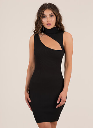 Sexy Sliver Cut-Out Turtleneck Minidress