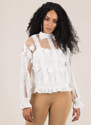 Trimmings Ruffled Floral Lace Blouse
