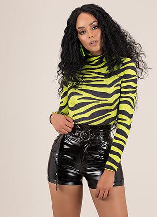 Hi Gloss High-Waisted Faux Patent Shorts