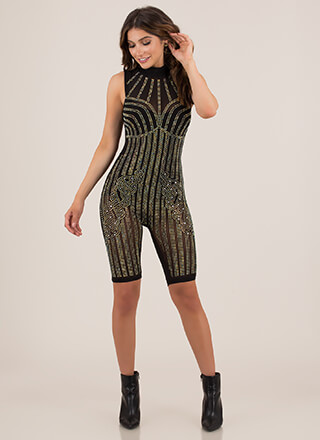 Sparkle Tonight Jeweled Mesh Romper
