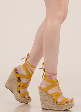Villa Babe Lace-Up Espadrille Wedges