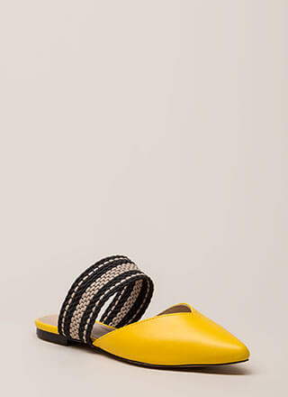 Too Chic Pointy Woven Strap Mule Flats