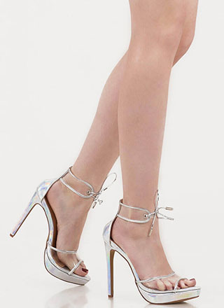Clear Message Tied Peep-Toe Platforms