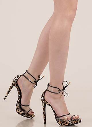 9a0bedc003d Clear Message Tied Peep-Toe Platforms