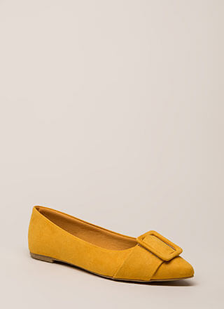 Buckle My Shoe Pointy Faux Suede Flats
