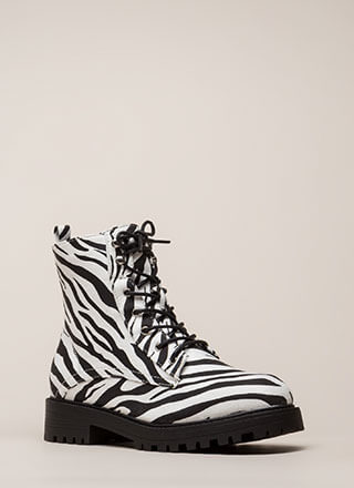 Little Punk Animal Print Combat Boots