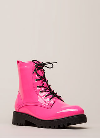 Little Punk Faux Patent Combat Boots