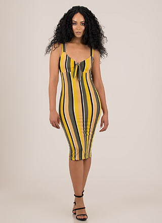 Perfected Knotted Striped Midi Dress