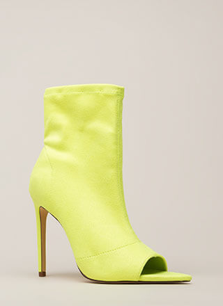 Peep-Toe Show Faux Suede Booties