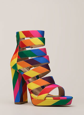 Rainbow Bright Strappy Chunky Platforms