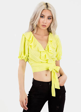 Grid Girl Ruffled Wrapped Crop Top