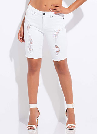 Snag The Look Distressed Denim Shorts