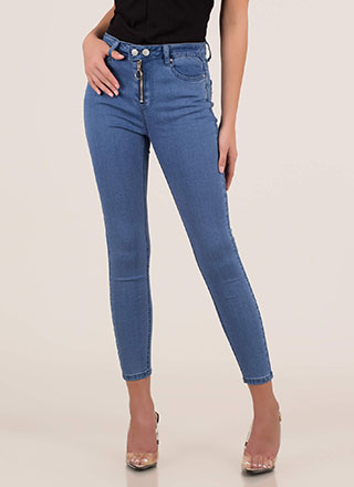 Hot Hardware Zip-Front Skinny Jeans