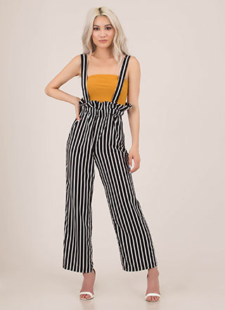 Office Frills Suspendered Striped Pants