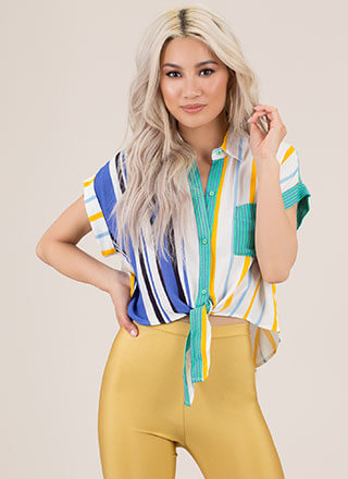 Fun Times Knotted Striped Blouse