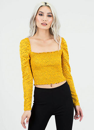 c87bd28a25d68 Open Your Eyelets Smocked Crop Top · Open Your Eyelets Smocked Crop Top.   23.50. Just A Sliver Ribbed Cut-Out ...