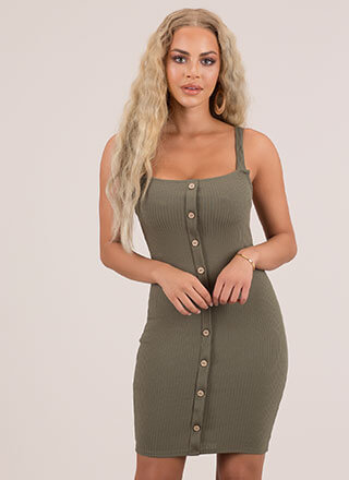 Cutie Ribbed Button-Front Dress