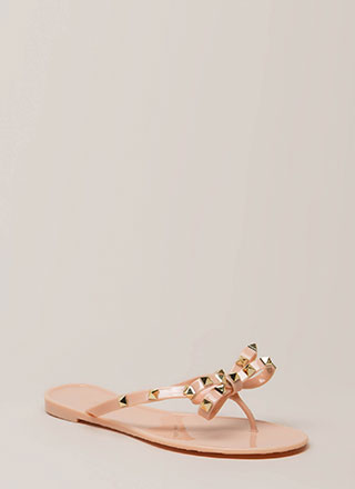 Bow-tiful Studded Jelly Thong Sandals