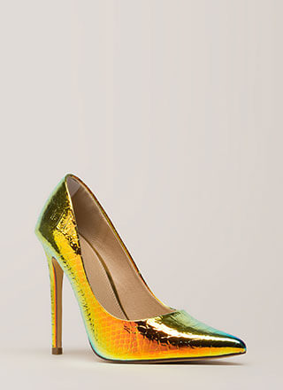 Foiled You Pointy Reptile Scale Pumps