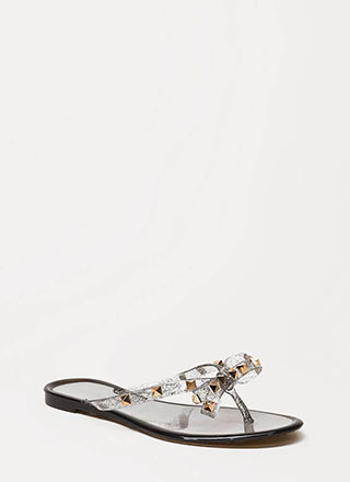 762f8003fa54 Bow-tiful Studded Glittery Jelly Sandals