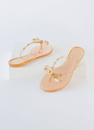 Bow-tiful Studded Glittery Jelly Sandals