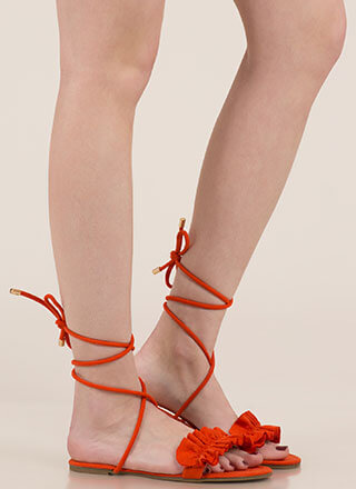 Frill Talk Ruffled Lace-Up Sandals