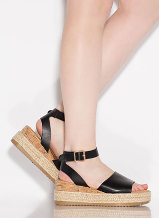 Vacationing Braided Faux Leather Wedges
