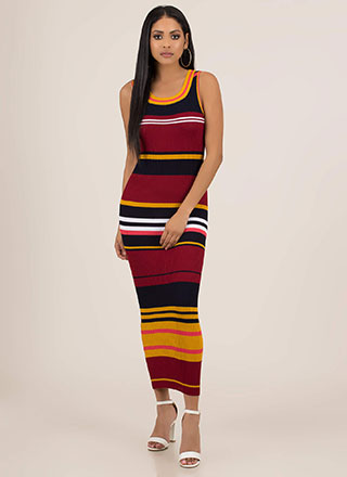 Skip The Line Striped Rib Knit Maxi